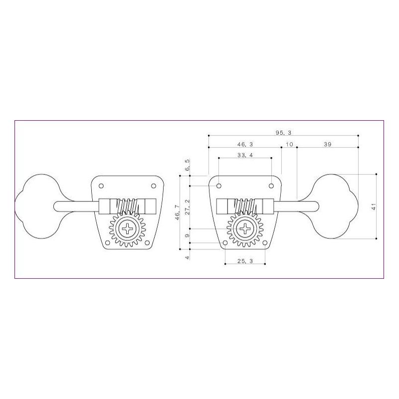 Maquinaria Gotoh para Bajo tipo Schaller 2+2